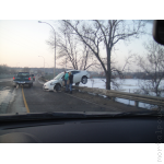 Crazy Car Accident with a car over the guardrail