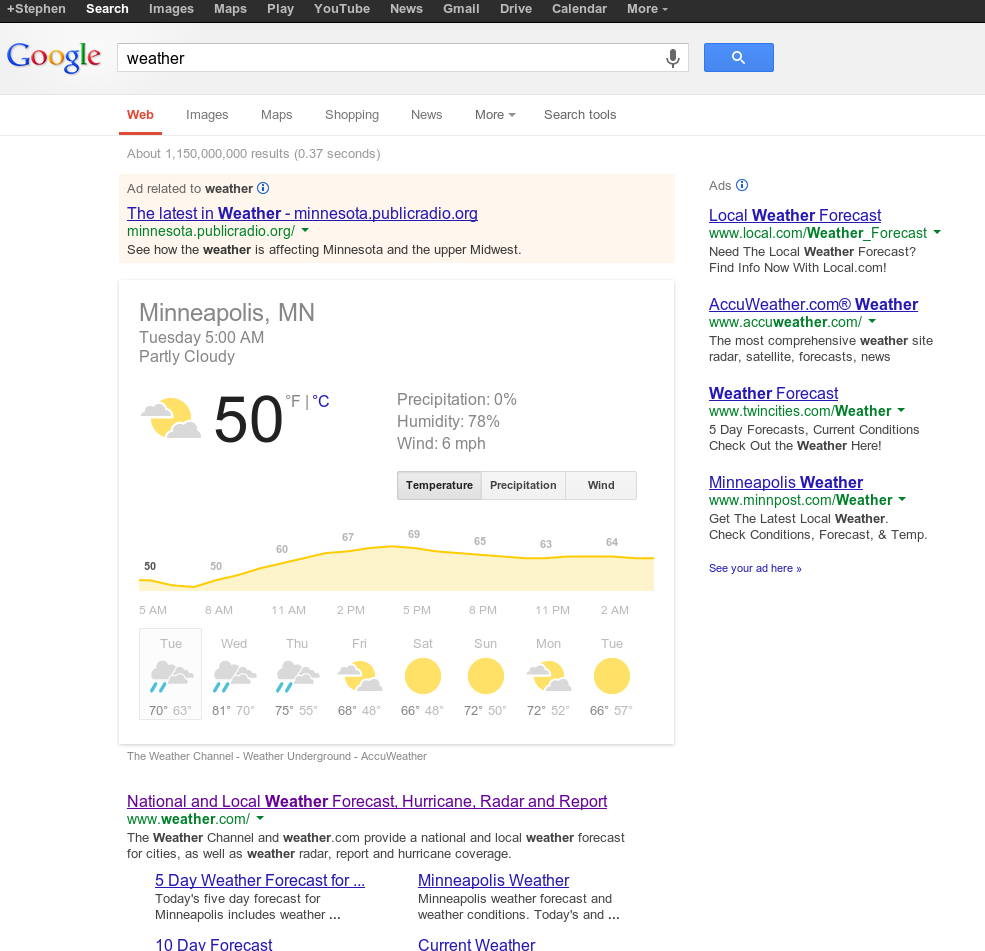 Google search for weather