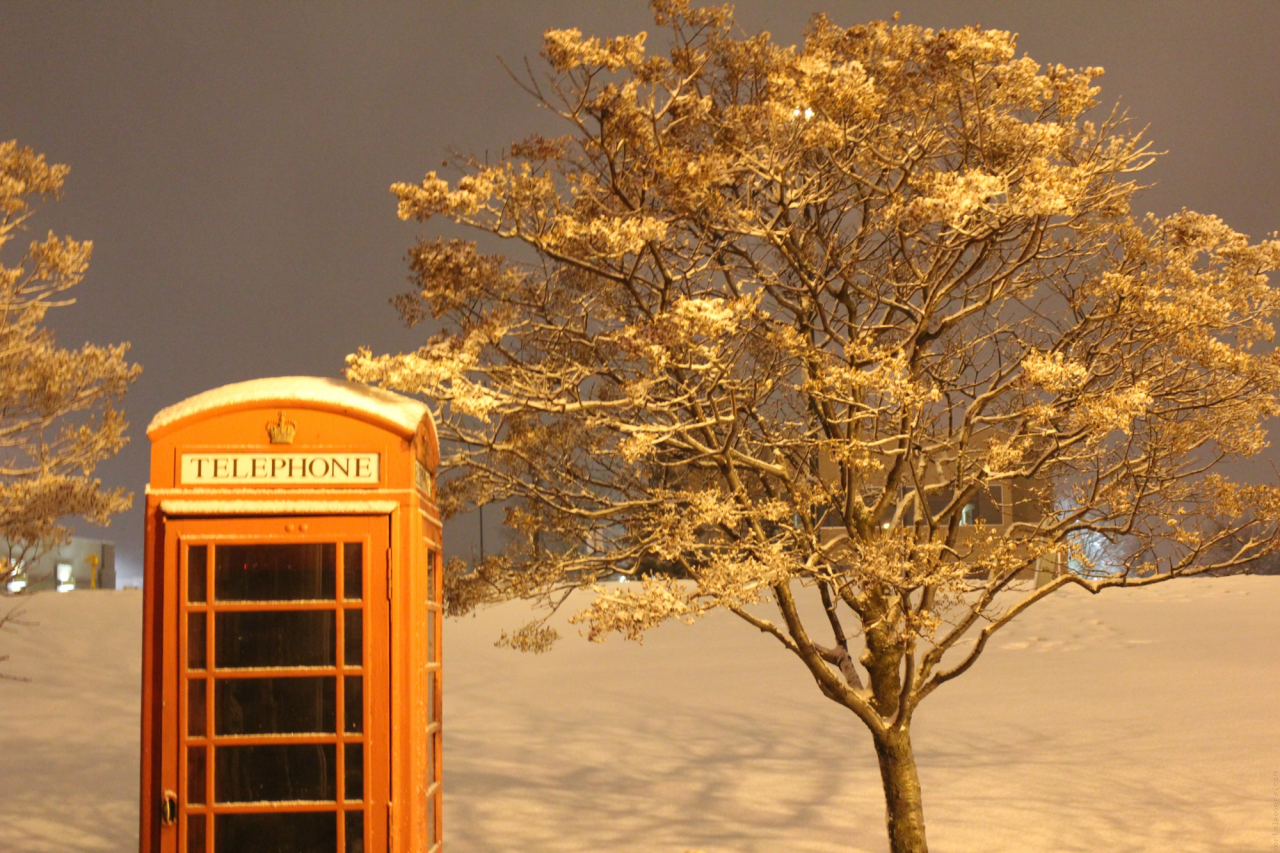 Cool Phone Booth in Winter